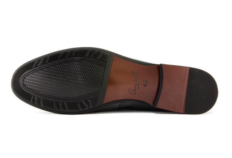Santo Napa Leather Penny Loafers - Ebony - Gaius Walks