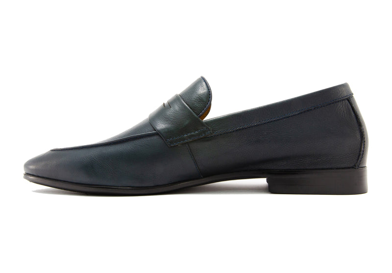 Santo Napa Leather Penny Loafers - Slate - Gaius Walks