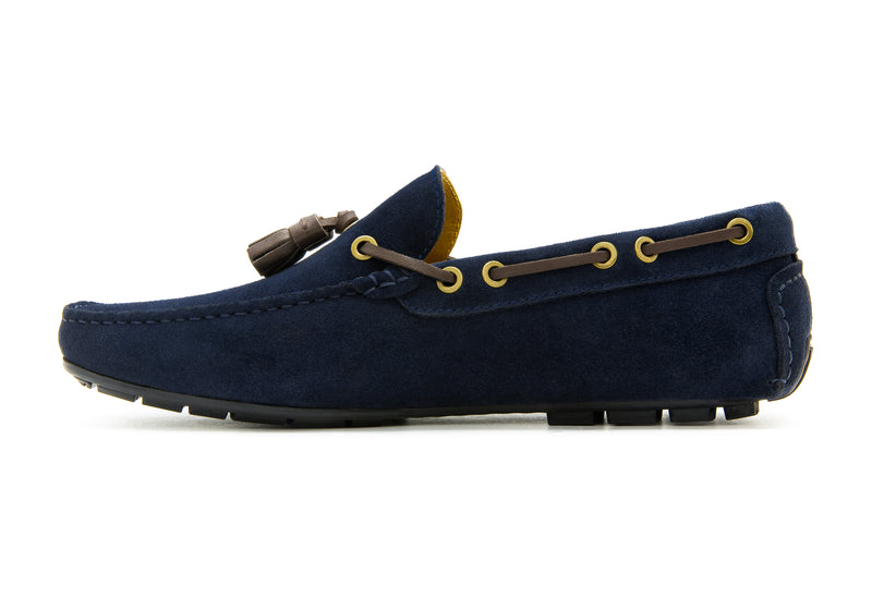 Carlo Suede Tassel Loafers - Indigo - Gaius Walks
