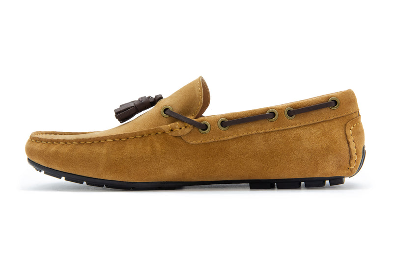 Carlo Suede Tassel Loafers - Pecan - Gaius Walks