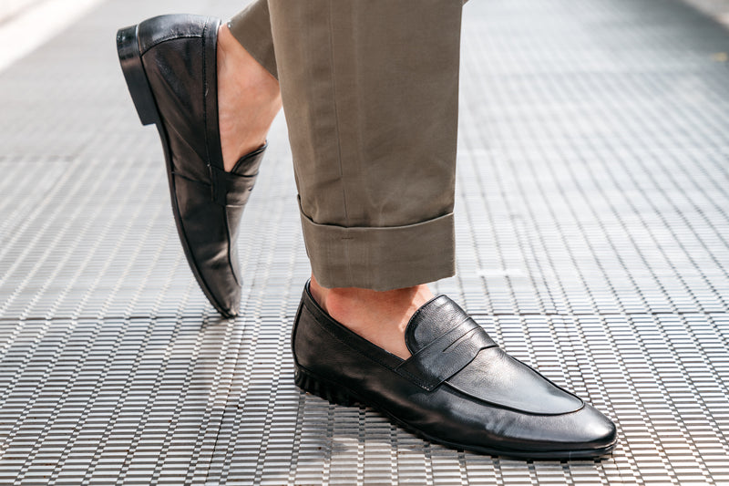 Santo Napa Leather Penny Loafers - Ebony