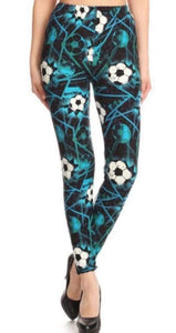 Ladies One Size Teal Soccer Goal Leggings
