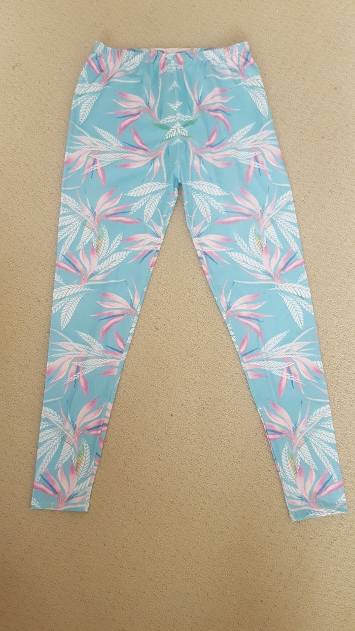Ladies Plus Size Mint With Pink Leaves
