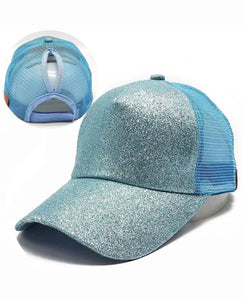 Ladies Glitter Ponytail Snapback Baseball Cap