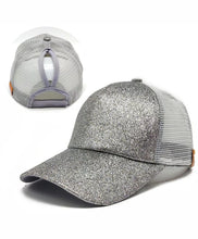 Load image into Gallery viewer, Ladies Glitter Ponytail Snapback Baseball Cap