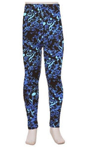 Kids Blue Music Notes Leggings