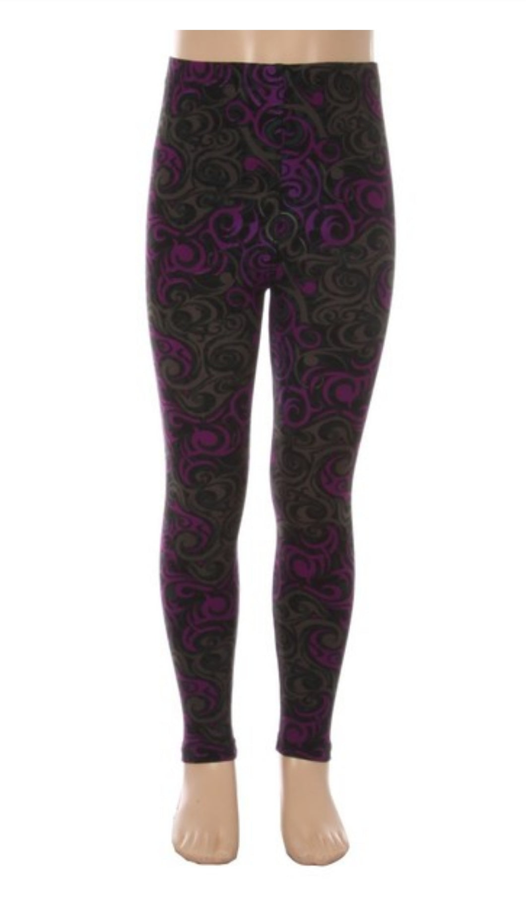 Kids Purple/Grey Swirls Leggings