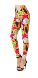 Ladies Plus Size Mixed Fruit Leggings