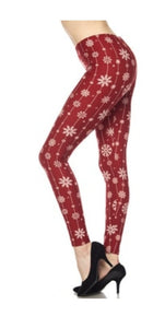 Ladies Plus Size Red Christmas Snowflakes Leggings