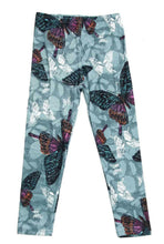 Load image into Gallery viewer, Kids Teal and Burgundy Butterfly Leggings