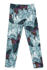 Kids Teal and Burgundy Butterfly Leggings