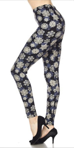 Ladies One Size Navy Snowflakes Leggings