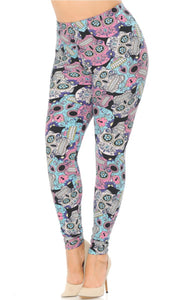 Ladies Extra Plus Size Pastel Skull Leggings