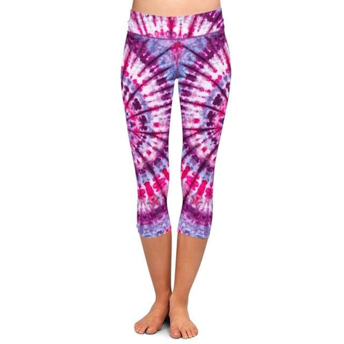 Womens Pink/Purple Tie-Dye Printed Capri Leggings