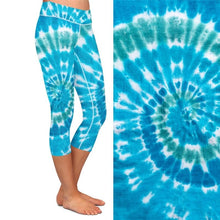 Load image into Gallery viewer, Ladies Blue Tie-Dye Printed Capri Leggings