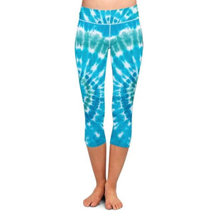 Ladies Blue Tie-Dye Printed Capri Leggings