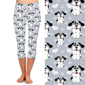 Ladies Cute 3D Cartoon Dogs and Paw Prints Capri Leggings