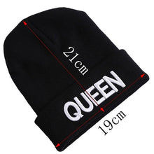 Load image into Gallery viewer, Ladies/Mens KING QUEEN Embroidered Winter Knitted Beanies