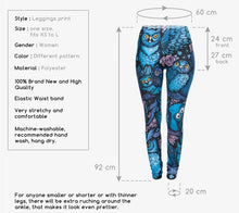 Load image into Gallery viewer, Lovely Blue Owl Printed Ladies Fitness Leggings
