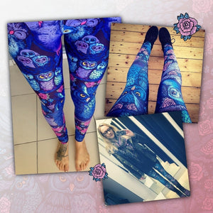 Lovely Blue Owl Printed Ladies Fitness Leggings
