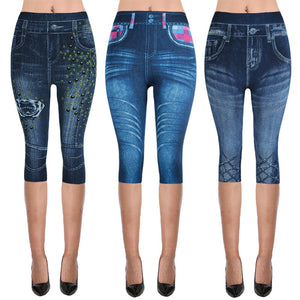 Womens Denim Look Capri Leggings/Jeggings