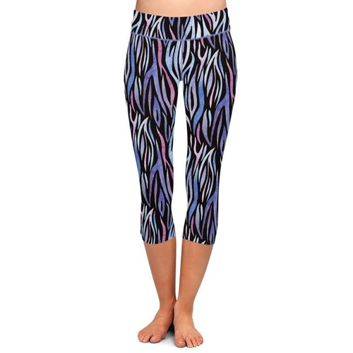 Ladies Purple Zebra Printed Capri Leggings