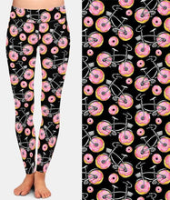Load image into Gallery viewer, Womens Fashion Bicycles With Assorted Foods Leggings