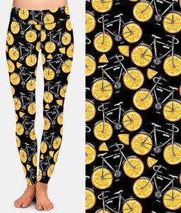 Womens Fashion Bicycles With Assorted Foods Leggings