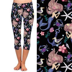 Ladies Cartoon Mermaid Under The Sea Printed Capri Leggings