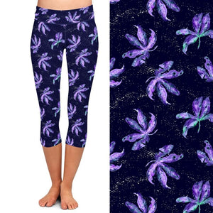 Womens Purple Floral Printed Capri Leggings