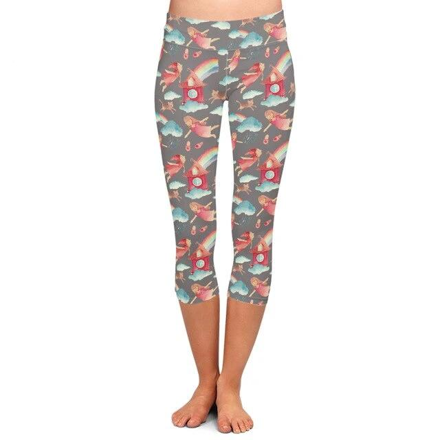 Ladies Rainbows Over Houses Printed Fitness Capri Leggings