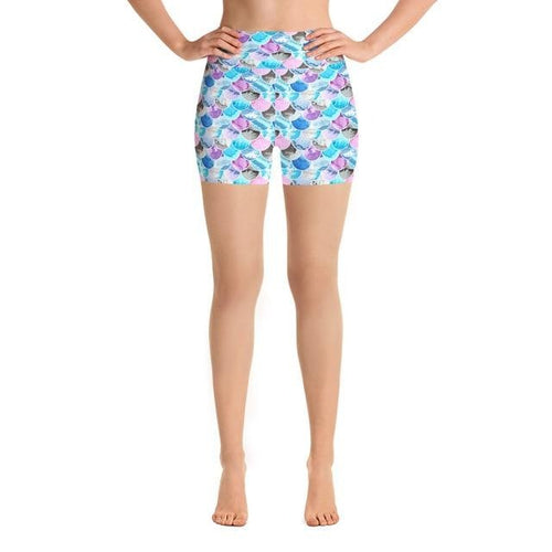 Ladies Summer Fashion Pastel Coloured Fish Scales Printed Shorts