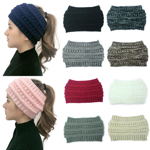 NEW Warm Crocheted Ponytail Beanie/Headbands