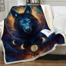Load image into Gallery viewer, Black Wolf Moon & Assorted Plush Sherpa Blankets