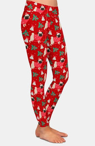 "Ladies Merry ""Pug"" Christmas Printed Leggings"