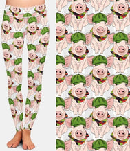 Load image into Gallery viewer, Ladies 3D Pigs In Hats Printed Leggings