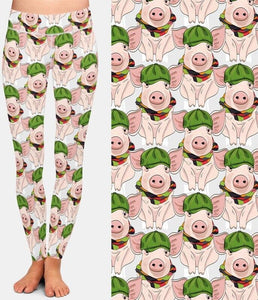 Ladies 3D Pigs In Hats Printed Leggings