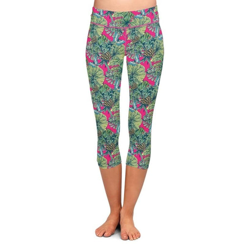 Ladies Butterflies & Pineapples Printed Capri Leggings