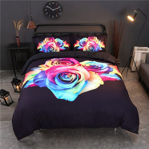 Luxury Rainbow Rose Printed Bedding Set