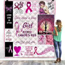 Load image into Gallery viewer, AHH-MAZ-ING Breast Cancer Awareness Quilted Blanket