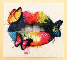 Load image into Gallery viewer, New Arrival 5D Diamond Painting Rainbow Lips and Butterflies