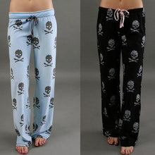 Load image into Gallery viewer, Womens Loose Boho Skull And Crossbones Printed Wide Leg Jogger Pants