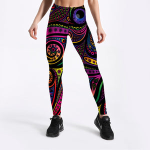 Womens Multi-Coloured Totem Printed Leggings