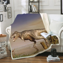 Load image into Gallery viewer, AMAZING Dinosaur Printed Sherpa Fleece Throw Blankets