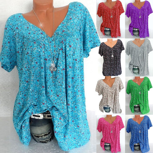 Ladies Fashion Printed Casual Summer V-Neck Tops