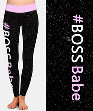 Load image into Gallery viewer, Womens #BOSSBabe Galaxy Black Leggings