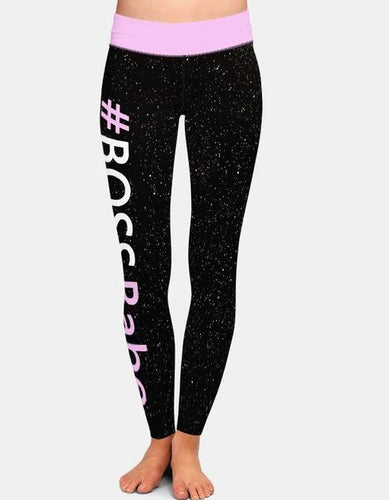 Womens #BOSSBabe Galaxy Black Leggings