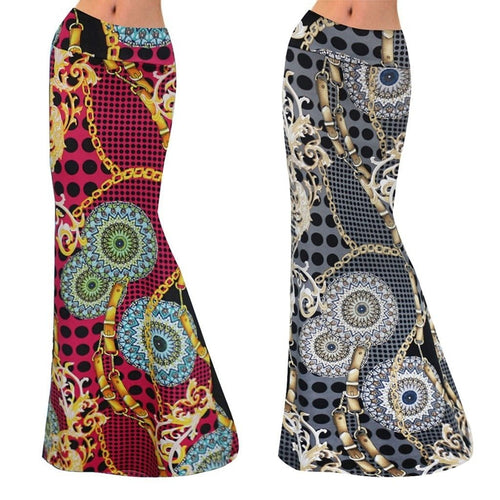 Womens Gorgeous Design Printed Long Maxi Skirt