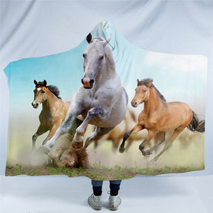 Gorgeous Horses Plush Sherpa 3D Hooded Blankets