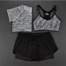 Load image into Gallery viewer, Womens Fashion Crop Top + Shorts + Tee - 3 Piece Set